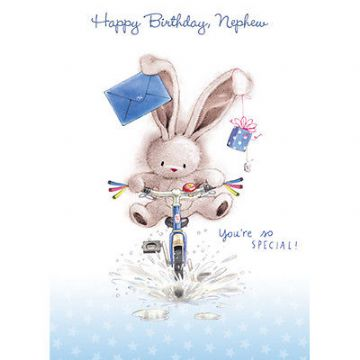 "NEPHEW BIRTHDAY CARD ""CUTE BUNNY ON A BICYCLE"" SIZE 7"" x 5""  RNHH 0070"
